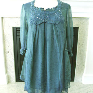 New Pretty Angel Shimmering Blue Tunic Top S